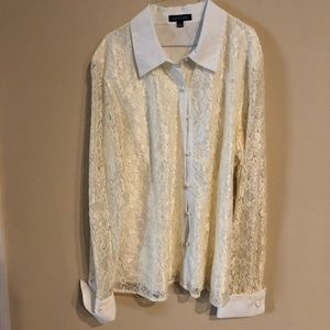 NWT Notations ivory lace long sleeve shirt sz L